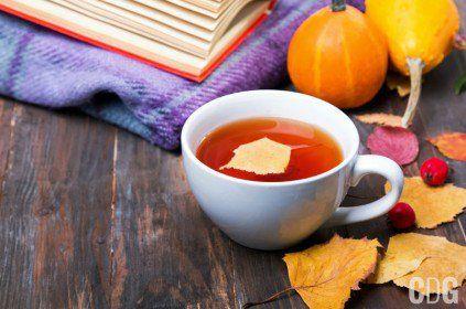 Biała filiżanka herbaty z liściem