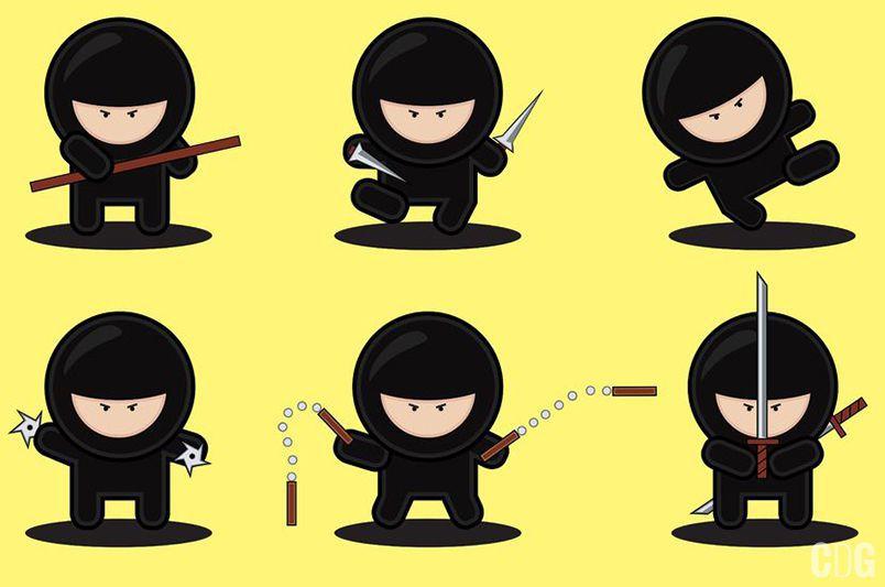 Six cute ninjas na żółtym tle