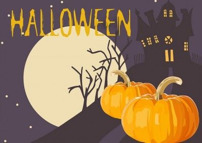 Halloween grafika ze strasznym domem w blasku księżyca z dyniami