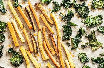 Chipsy z jarmużu, frytki z marchewki, pietruszki i bakłażana