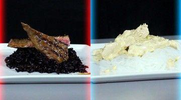 Zdjęcie podzielone na dwie sekcje. Na pierwsza przedstawia grillowany stek z dzikim ryżem leżący na białym talerzu. Druga przedstawia usmażoną pierś z kurczaka w sosie śmietanowo-serowym leżącą na białym talerzu