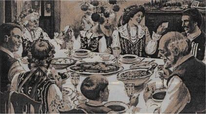 Stary rysunek rodziny przy stole